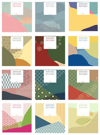 Vettore modello giapponese. Sfondo di stagione per carta di invito, matrimonio, poster, sfondo, carta da parati. Stile collage con tradizionale trama giapponese.