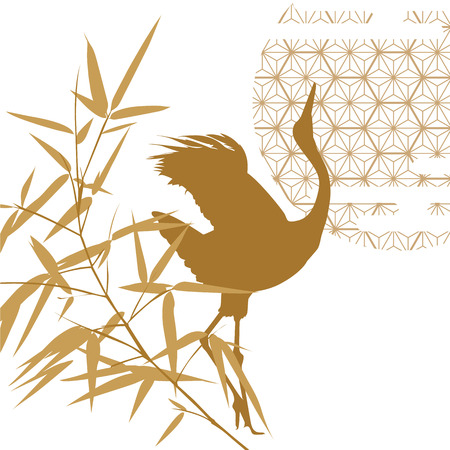 Japanese background vector. Gold crane and bamboo with Japanese pattern. Oriental template.