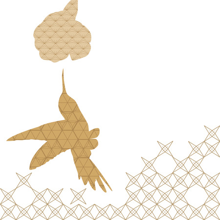Bird isolated icon with Japanese pattern vector. Animal elements background.  イラスト・ベクター素材
