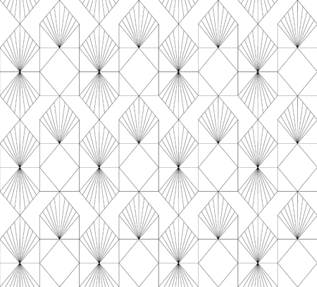 Black and white geometric pattern vector. Art Deco line background.Abstract texture.  イラスト・ベクター素材