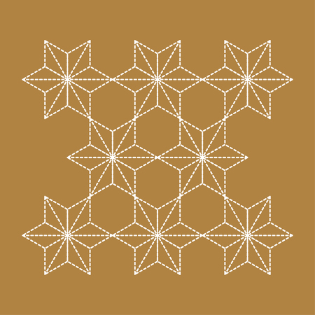 Japanese pattern Sashiko is a form of decorative reinforcement stitching or functional embroidery from Japan. Brown pattern and white line on Indigo background.  イラスト・ベクター素材