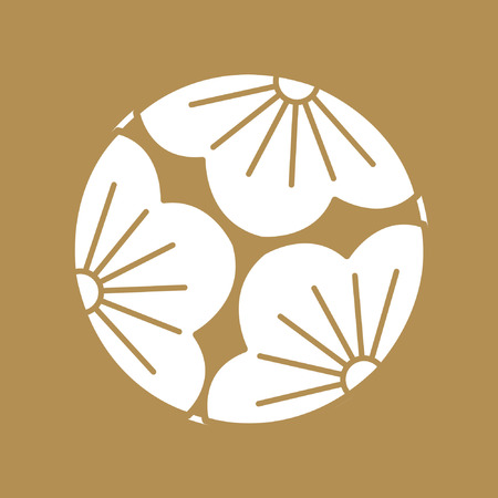 Japanese pattern Sashiko is a form of decorative reinforcement stitching (or functional embroidery) from Japan. Gold pattern and line on white background. Flower icon.