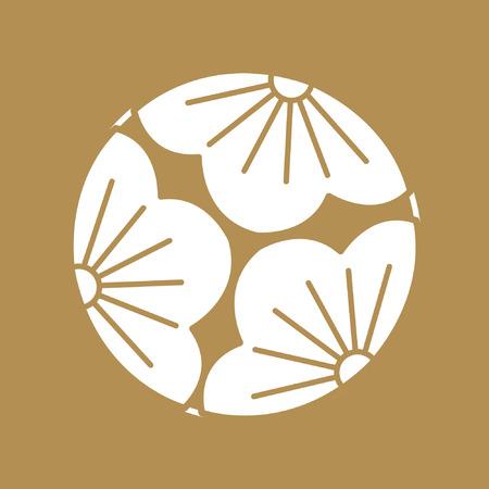 El patrón japonés Sashiko es una forma de costura de refuerzo decorativa (o bordado funcional) de Japón. Patrón de oro y línea sobre fondo blanco. Icono de flor.