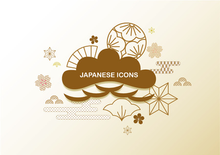 Japanese background vector. Icons and elements of tree, flower, wave in Japan traditional for template, backdrop, cover page design.  イラスト・ベクター素材