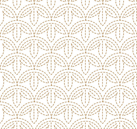 Japanese pattern Sashiko is a form of decorative reinforcement stitching (or functional embroidery) from Japan. Gold pattern and line on white background.