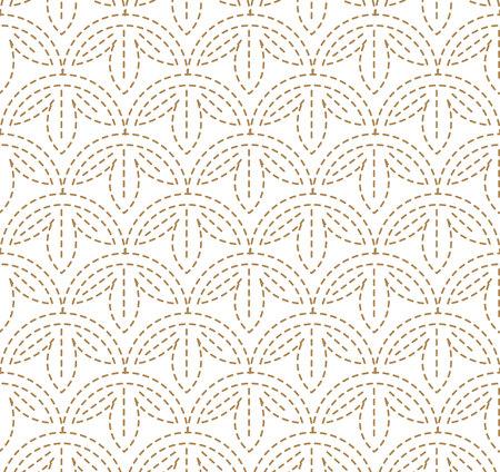 El patrón japonés Sashiko es una forma de costura de refuerzo decorativa (o bordado funcional) de Japón. Patrón de oro y línea sobre fondo blanco.