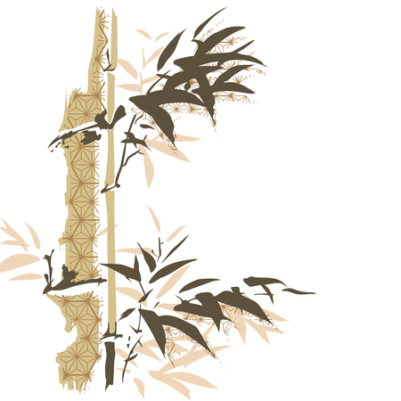 Bamboo template vector. Chinese laves background with Japanese pattern.