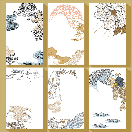Japanese traditional template vector. Hand drawn brush stroke background. Lion, Fuji mountain, peony, wave, water, carp fish elements.