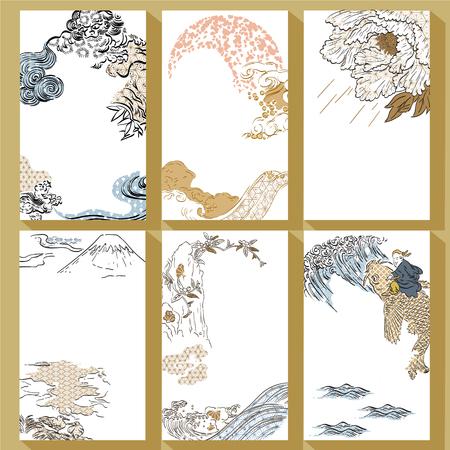 Vector de plantilla tradicional japonesa. Fondo de trazo de pincel dibujado a mano. León, montaña Fuji, peonía, ola, agua, elementos de peces carpa.