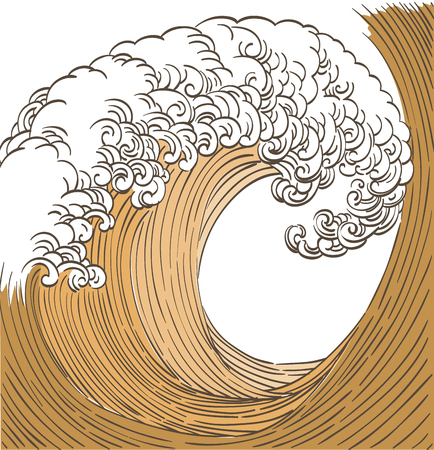 Japanese wave pattern vector. Gold hand drawn ocean template background.  イラスト・ベクター素材