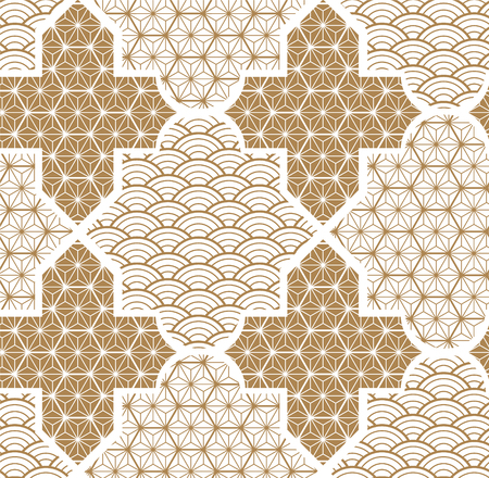 Gold geometric vector with Japanese pattern background. Tile design template.  イラスト・ベクター素材