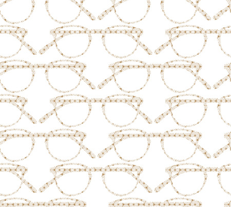 Glasses vector with Japanese pattern. Gold geometric background.