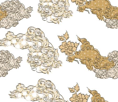 Chinese lion pattern vector background. Gold geometric element decoration. Illustration