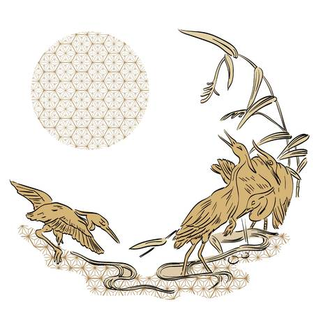 Crane birds vector with Japanese pattern background. Japanese template.
