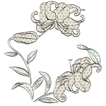 Lilly flower vector with Japanese pattern background. Hand drawn floral elements. Illustration