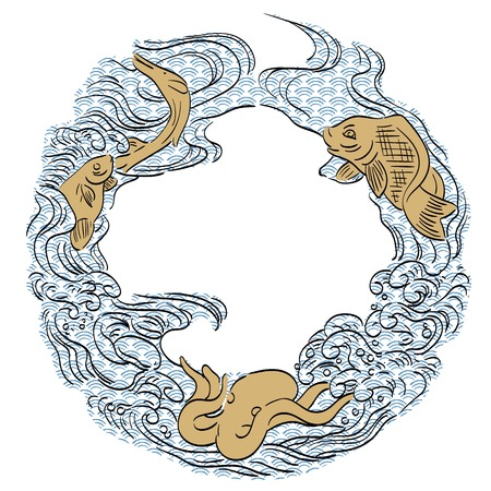 Aquatic life vector in the ocean with Japanese pattern background. Wave template.  イラスト・ベクター素材