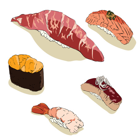 Japanese food vector. Sushi of salmon, beef, shabby and shrimp.