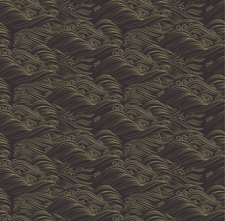 Chinese wave pattern vector. Gold line wave and black black background.