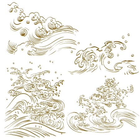 Chinese wave vector. Line hand drawn ocean elements.  イラスト・ベクター素材