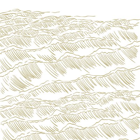 Gold hand drawn line  pattern vector. Japanese template background.  イラスト・ベクター素材