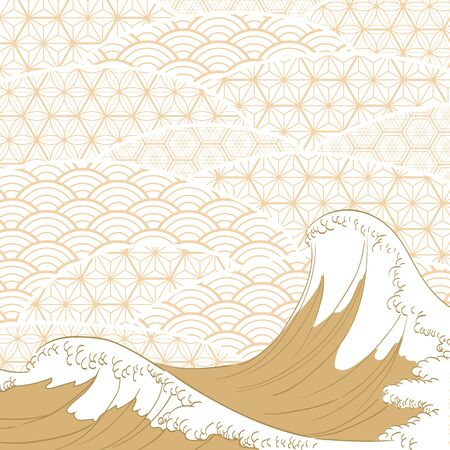 Japanese wave template vector. Gold ocean with geometric pattern background. Ilustração