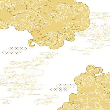 Nuvola giapponese con il vettore del modello di onda disegnato a mano. Fondo asiatico dell'oro. Vettoriali