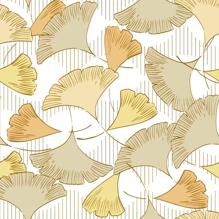 Gingko leaf pattern vector. Japanese background.
