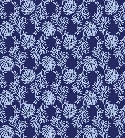 Indian block printing pattern vector. Blue flower background.