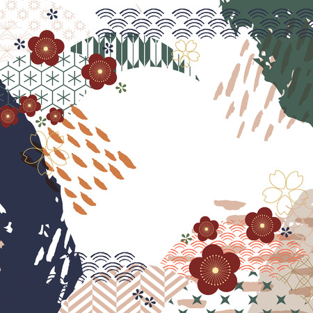 Cherry blossom elements with brush strikes background vector. Japanese pattern with flower template.