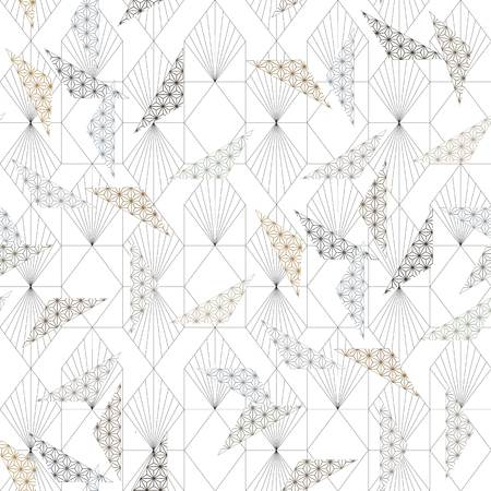 Japanese pattern vector. Geometric background. Asian line ornamental template. Vettoriali
