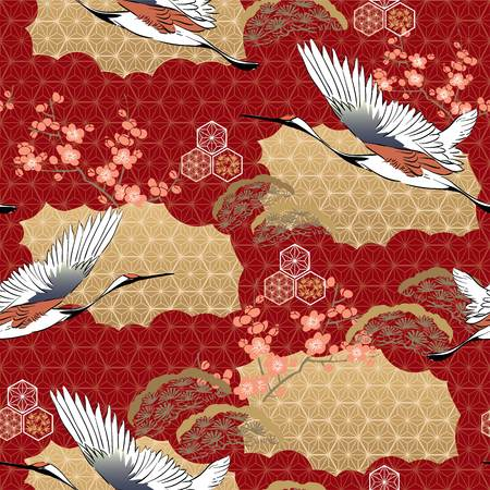 Japanese kimono pattern. Cherry blossom , Crane birds, pine tree with oriental motifs background vector.