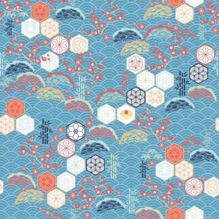 Japanese pattern vector. Cherry blossom flower, pine tree, Kumiko icons and bamboo elements motif background. Ilustração