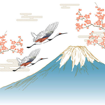 Crane birds with Fuji mountain background vector. Japanese template background. Cherry blossom branch and cloud elements.