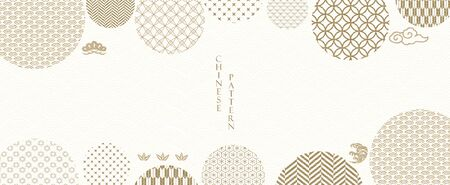 Abstract background in oriental style. Chinese new year banner. Geometric line with Japanese pattern vector. Gold line elements with circle shape decoration. Ilustração