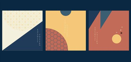 Geometric background with Japanese pattern vector. Abstract template with circle and triangle elements. Vintage card layout design