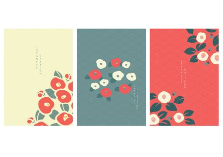 Camellia flower vector with Japanese wave pattern vector. Floral background in oriental style.