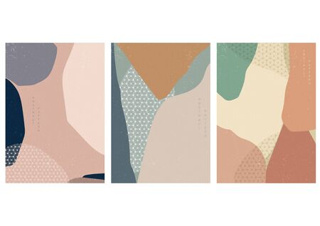Abstract arts background with Japanese pattern vector. Art landscape with geometric elements. Illusztráció
