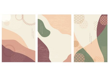 Abstract arts background with Japanese icon vector. Curve elements with geometric pattern. Art landscape wallpaper.