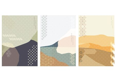 Abstract arts background with Japanese icon vector. Nature landscape template geometric elements. Oriental template in Asian style.