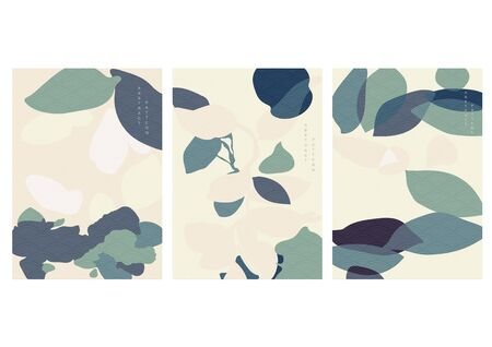 Natural landscape background with Japanese wave pattern vector. Abstract art template with curve elements. Illusztráció