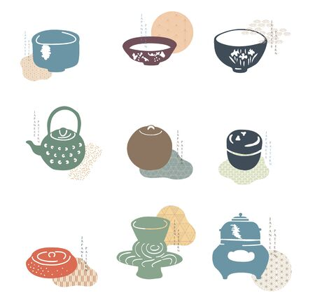 Kitchen ware icon with Japanese pattern vector. Abstract background with geometric elements. Illustration