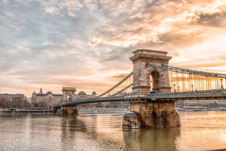 Panoramic view of Budapest city and Chain Bridge on a frosty snowy winter morning