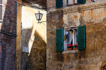 Italian Window with Open Wooden Shutters