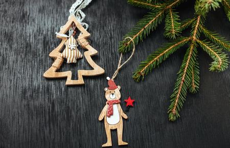 Black background. Christmas background. Beautiful photo. Christmas toys