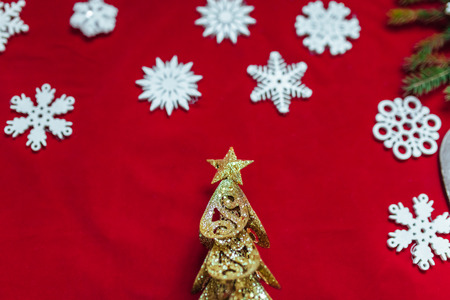 Christmas toy drive. The red background. Star and Tree. Beautiful photo