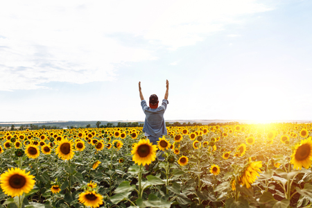the man raised his hands to the sky, in the background of the field with sunflowers, the guy in the cap and shirt