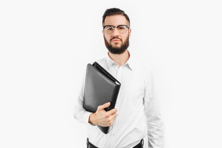 man with a folder in his hands, on a white background Stock Photo
