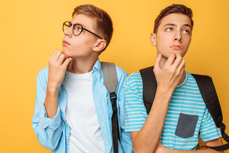 Two thoughtful teenagers, guys who are trying to find the right solution or make plans