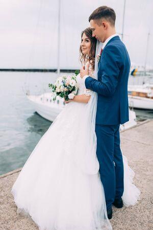 Wedding couple on a yacht