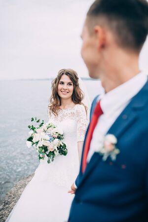 Wedding couple on the sea